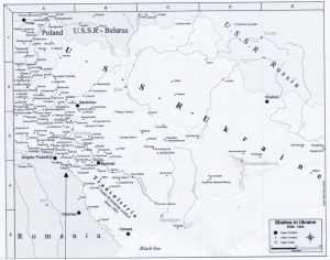 Map of ghettos in Ukraine from Yad Vashem